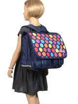Satchel 2 Compartments Miniprix Blue school 16302P-vue-porte