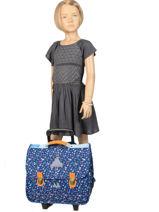 Wheeled Schoolbag With Free Pencil Case Poids plume Blue liberty LIB1939-vue-porte
