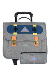 Wheeled Schoolbag With Wheels With Free Pencil Cas Poids plume Gray skate SKA1939