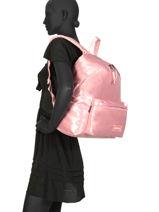 Backpack Padded Satin Eastpak Pink satinfaction K620SAT-vue-porte