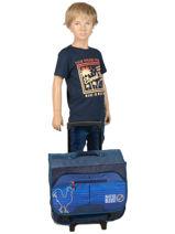 Wheeled Schoolbag With Free Pencil Case Allez les bleus Blue world cup ALB12409-vue-porte