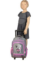 Wheeled Backpack With Free Pencil Case Teo jasmin Violet teo titi TEO22210-vue-porte