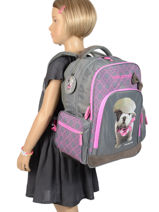 Backpack 2 Compartments With Free Pencil Case Teo jasmin Violet teo titi TEO22110-vue-porte