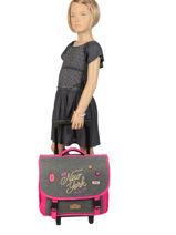 Wheeled Schoolbag 2 Compartments Pol fox Brown fille F-TRCA38-vue-porte