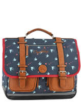 Wheeled Schoolbag For Girls 3 Compartments Cameleon Blue vintage print girl PBVGCA41