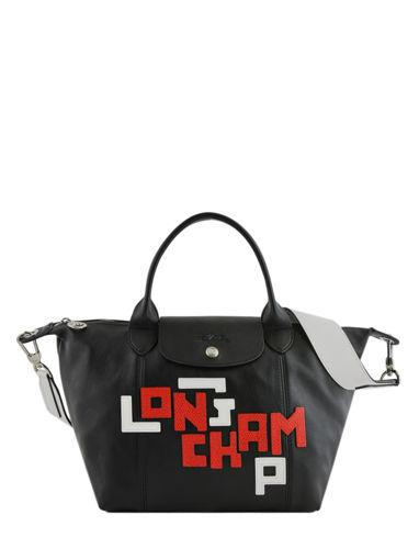 Longchamp Le pliage cuir lgp Sacs porté main Blanc