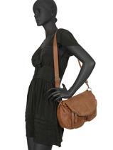 Crossbody Bag Lola Leather Nat et nin Brown vintage LOLA-vue-porte