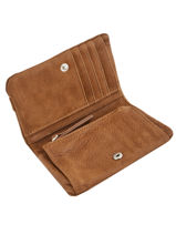 Wallet Leather Nat et nin Brown vintage LILOU-vue-porte