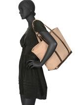 Zipped Linen Tote Bag Le Cabas Sequins Vanessa bruno Beige cabas 31V40409-vue-porte
