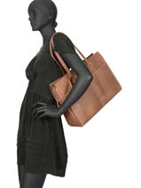 Large Leather About Ally Tote Bag Burkely Brown about ally 545029-vue-porte