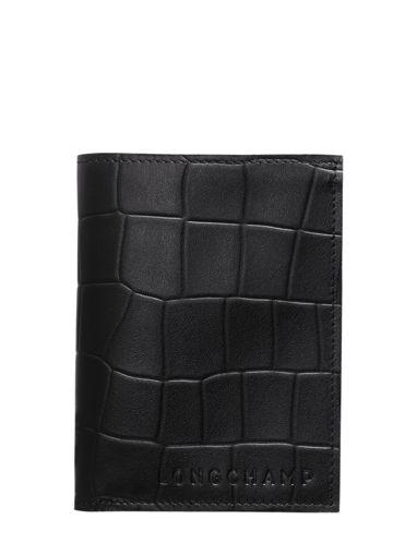 Longchamp Croco block Porte billets/cartes Bleu
