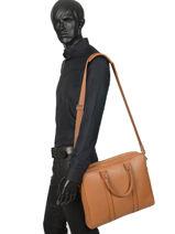 Briefcase Le tanneur Brown charles TCHA4000-vue-porte