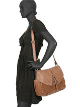 Crossbody Bag Oksan Leather Mila louise Brown vintage 3319CVG-vue-porte