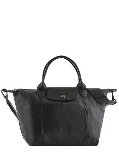 Longchamp Le pliage cuir Sacs porté main Noir