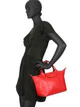 Longchamp Le pliage cuir webbing Handbag Red-vue-porte
