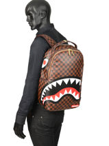 "Sac à Dos Sharks In Paris + Pc 15"" Sprayground Marron ultimate edition 910B-vue-porte"