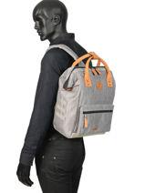 Customisable Backpack Cabaia Gray tour du monde BAGS-vue-porte