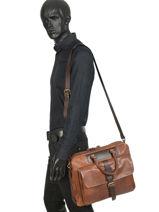 Leather Work Briefcase Chiarugi Brown work 64676-vue-porte