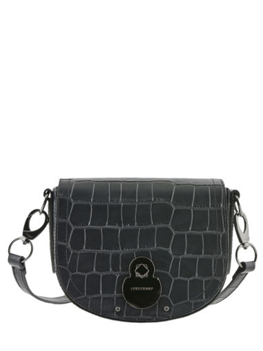Longchamp Cavalcade croco Sacs porté travers Noir