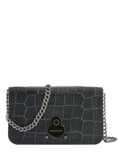 Longchamp Cavalcade croco Wallet Black