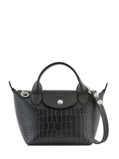 Longchamp Le mini pliage cuir croco Sacs porté main Noir