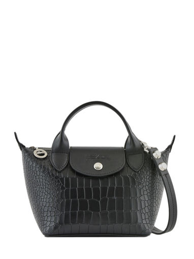 Longchamp Le mini pliage cuir croco Handbag Black