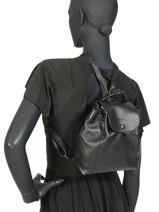 Longchamp Le pliage cuir Backpack Black-vue-porte