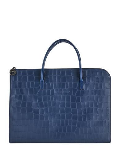 Longchamp Croco block Briefcase Blue