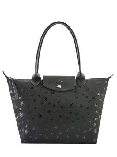 Longchamp Le pliage jacquard etoiles Besaces Noir