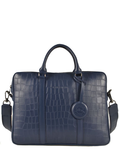 Longchamp Croco block Serviette Bleu