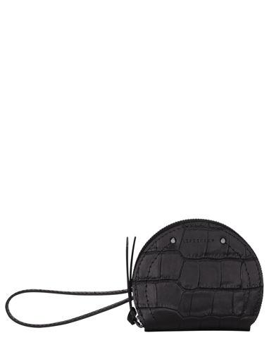 Longchamp Cavalcade croco Porte-monnaie Noir