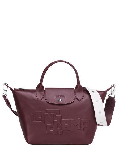 Longchamp Le pliage animation cuir estam Sacs porté main Rouge