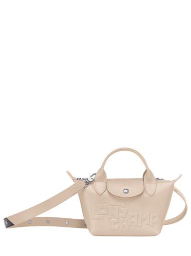 Longchamp Le pliage animation cuir estam Handbag Beige