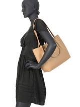 Sac Shopping Foulonne Double Cuir Lancaster Beige foulonne double 20-vue-porte