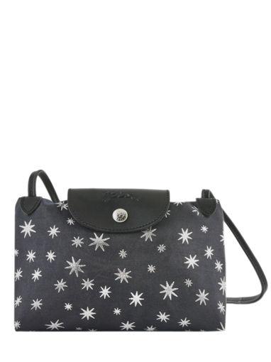 Longchamp Le pliage jacquard etoiles Messenger bag Black