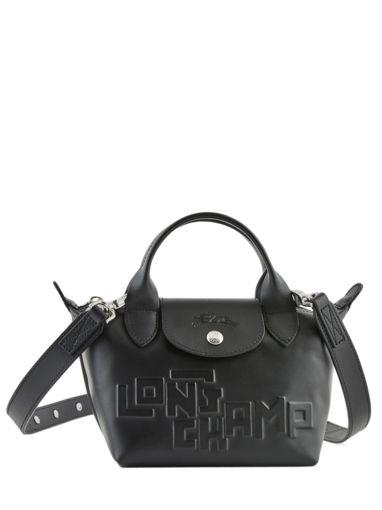 Longchamp Le pliage animation cuir estam Sacs porté main Noir