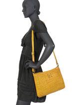 Large Leather Crossbody Bag Heritage Biba Yellow heritage KA2-vue-porte