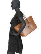 Leather Tote Bag Bennington Lauren ralph lauren Brown bennington 31687507-vue-porte