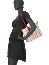 Handbag Actual Rayure Lin Lancaster Red actual rayure lin 518-71-vue-porte