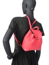 Longchamp Le pliage cuir Sac à dos Rouge-vue-porte