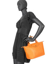 Longchamp Le pliage cuir Handbag Black-vue-porte