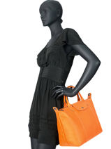 Longchamp Le pliage cuir Sacs porté main Noir-vue-porte