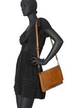 Leather Crossbody Bag Croco Milano Brown CR19111N-vue-porte