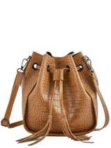 Leather Crossbody Bag Croco Milano Brown CR19114N