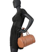 Leather Satchel Soft Vintage Lancaster Brown 577-03-vue-porte