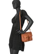 Leather Crossbody Bag Maths Craie Brown maths MINIM-BU-vue-porte