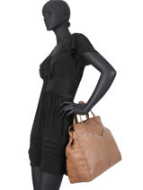 Leather Tote Bag Nathalie Pieces Brown nathali 17102051-vue-porte