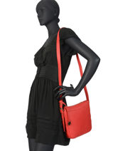Leather Crossbody Bag Caviar Crinkles Red 80053-vue-porte