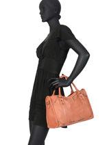 Top Handle Studs Leather Basilic pepper Orange studs BSTU07-vue-porte