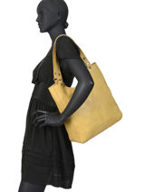 Leather Tote Bag Cow Basilic pepper Yellow cow BCOW20-vue-porte